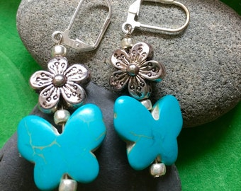 Turquoise Butterfly Bead Earrings
