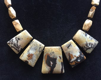 Chinese Painting Jasper Necklace, Artistic Natural Stone Necklace, Free Shipping