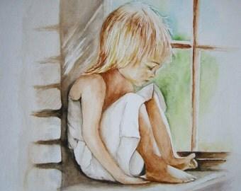 Little girl viewing his feet