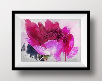 Pink Peony - Floral Fine Art Print, Flower Wall Decor, Close-up Flowers Photography, Watercolor Painting, Ink Drawing - Instant Download