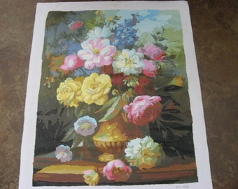 "Paint By Number Painting, Paintings,Amateur Art Paint By Number, Finished PBN Floral Bouquet On Canvas, 15.75"" x 19.75"", Not Framed"