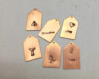 Copper Tag Charms