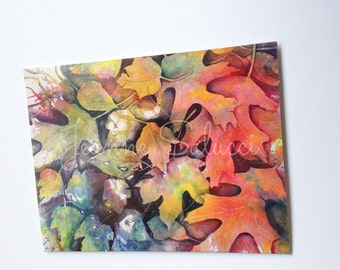 Watercolor Note card, Fall/ Autumn Leaves