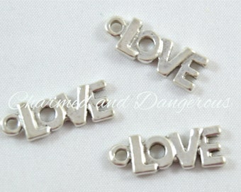 10 pewter Love Text charm (CM112)