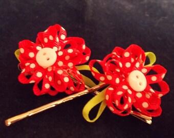 Ribbon hair pins (pink)
