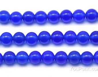 Blue agate beads, 8mm round, A grade genuine gemstone strand, loose natural tone beads, agate gem stone for necklace, AGA2140