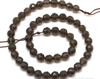 Smoky quartz beads, 8mm round faceted, A grade shinning brown quartz gem strand, loose gemstone beads, natural stone beads jewelry, SQZ1040