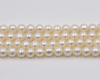 AA round pearl, 6-6.5mm full strand, genuine freshwater fine pearl, thick nacre pearl beads, natural real pearl slightly blemish, FR295-WS