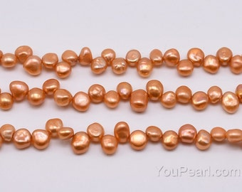 6-8mm gold top-drilled freshwater Keshi pearl, golden lustrous pearl, natural keishi pearl beads, jewelry making supply wholesale, FK250-GS