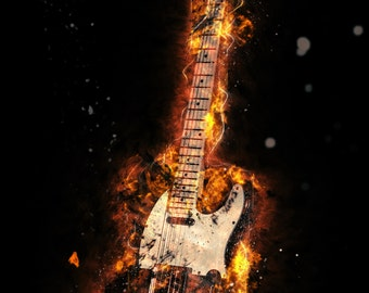 Fender Telecaster on Fire Guitar Photography Print
