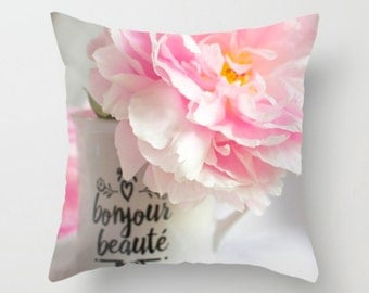 Shabby Chic Pillow ~ Pink Peony Pillow Cover, French Country Decor, Pink Throw Pillow, Feminine Art, Shabby Chic Decor, Floral Pillow Flower