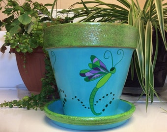 """8"""" Dragonfly hand painted clay flower pot"""