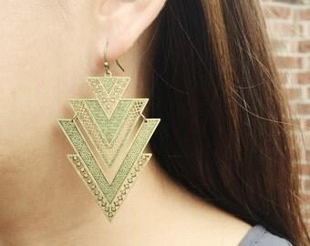 Geometric earrings | rustic brass earring |chandelier earrings | boho long earrings