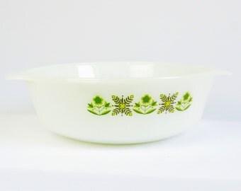 Anchor Hocking Fireking Green Meadow casserole dish, milk glass bakeware, vintage kitchenware