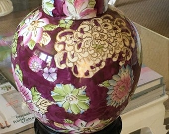 Vintage Chinoiserie Hollywood Regency Flower Floral Handpainted Purple Ginger Jar on Asian Wood Stand