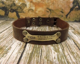 Leather dog collar, Dog Collar, Leather Collar, Personalized Dog Collar, Pet Gifts, Dogs Name Plate,id Tag, Rustic Brown, Small Dog collar
