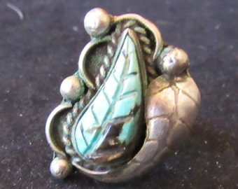Wonderful Sterling Silver Leaf Turquoise Southwest Style Size 5.5 Ring (E0061)