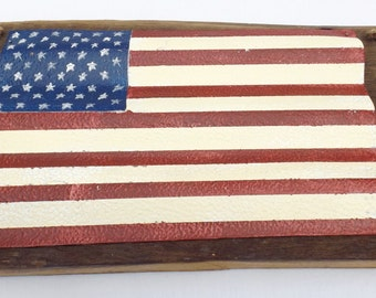 American Flag handpainted on tin roof piece mounted real barn wood wall decor