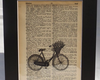 Vintage Actual Dictionary Page Bicycle Flower Basket from 1950's includes 11x14  wall decor