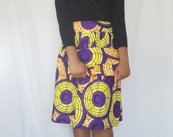 Trenzycreations African Print purple yellow skirt with a tote