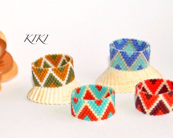Beaded ring, peyote ring, seedbead zigzag (b) patterned ring with stylish various colours in band style unique handmade beadwork