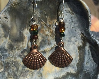 Copper seashell earrings with sterling ear wire and glass beads