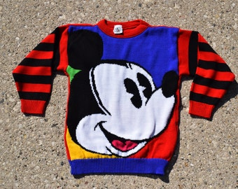 Mickey Mouse Sweater, 90s Vintage Sweater, Kids Size Small 7/8 - Vintage Mickey Mouse - Vintage Disney - 90s Disney - Vintage Clothing