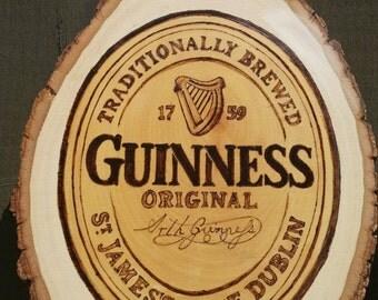 Guinness wood burned pub sign