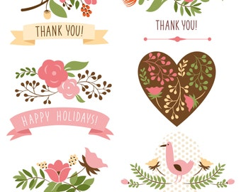 Flowers Clipart, Clip art of flowers, florals, wedding - personal use and commercial use, instant download A2