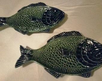 Majolica Fish Plates Olfaire
