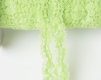 Lime Elastic lace, elastic by the yard, lace fabric, stretch elastic headband, elastic hair ties, wholesale elastic, stretch lace trim