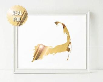 Cape Cod Map - Cape Cod Art - Real Gold Foil Print - Gold Map - Gold Decor - Personalized Map - Cape Cod Wall Art - Cape Cod Wedding Gift