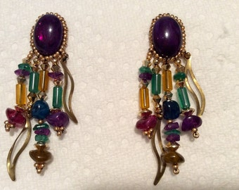 Purple Hand-Made Dangling Earrings