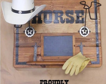 Country western wood teaches table with padded hats, shelf, Blackboard and writing horse