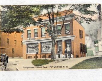 Postcard Pemigewasset National Bank Plymouth N.H. circa 1921 Free Ship in USA