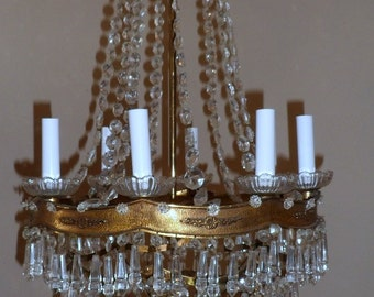 Antique Brass Crystal Chandelier