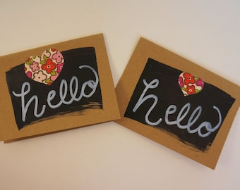 "Handmade Chalkpaint ""Hello"" Notecards/Set of 5/Blank Inside/Includes Envelopes/Brown Kraft Notecard Paper/ 4 x 5-1/2"" Notecard"