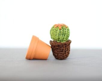 Tiny Hand Knit Cactus in a Tiny Terracotta Pot 006