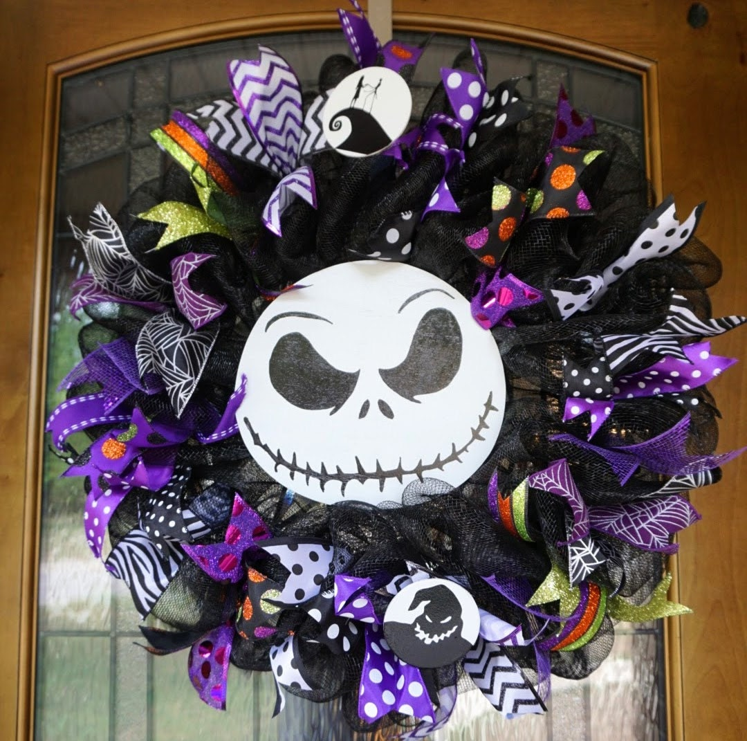 Jack skellington wreath halloween wreath halloween door - Jack skellington decorations halloween ...
