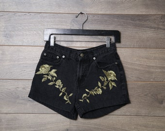 Black high waisted floral shorts