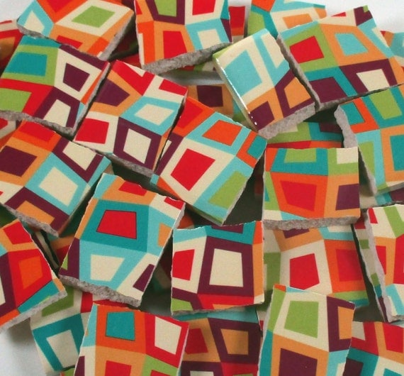 Ceramic mosaic tiles bright colors squares orange green blue Bright blue tile