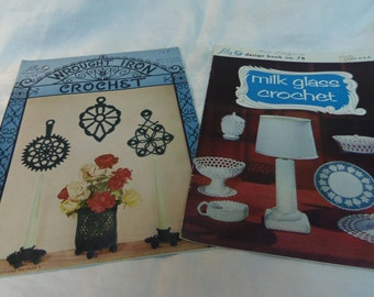 Crochet Patterns, Novelty Crochet Milk Glass and Wrought Iron Crochet Lily Book 74 and 78 1950s