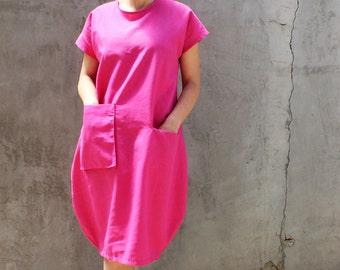Linen Dress, Pink Linen Dress, Summer linen dress, Loose fit dress, One size linen tunic, Every day dress, Plus size dress, Linen kimono