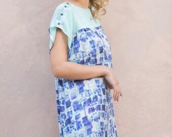 silk dress with blue print