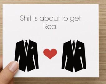 Greeting Card: Two Grooms Wedding Card, Gay Wedding Card, Choose Love, Card for him, Wedding Party