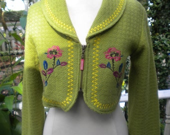 Lime Green Short Embroidered Jacket