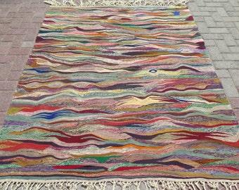 Vintage Turkish Kilim Rug,Freedom Design Rug,Floorrugs,Homedecor,Woolrugs 75 x 61 inches,191 x 155 cm Antiquerugs,Antalya Kilim