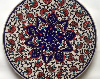 Trivet Turkish Ceramic Round Kitchen Hot Plate Tile - Traditional Ottoman Red Carnation Flowers Floral Design
