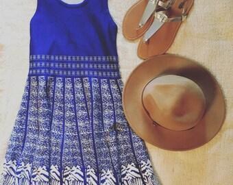 Printed Royal Blue Dress