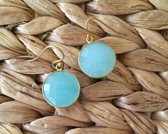 Aqua Chalcedony dangle earrings in gold fill - aqua blue clacedony drop earrings - light blue gemstone earrings
